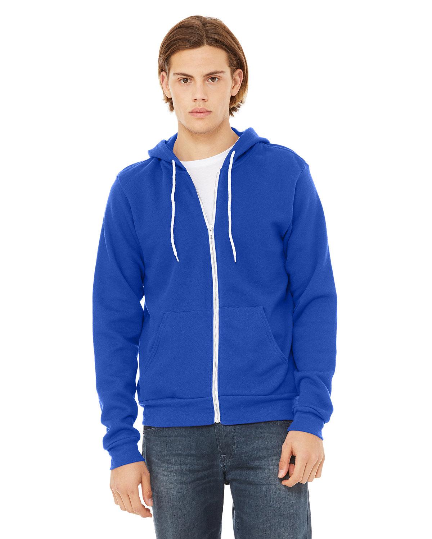 Bella + Canvas Unisex Poly-Cotton Fleece Full-Zip Hooded Sweatshirt TRUE ROYAL