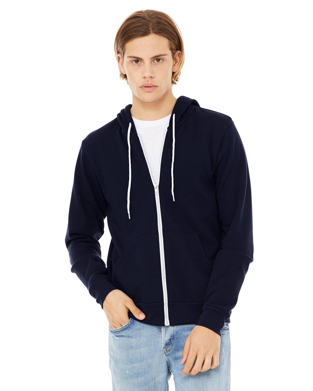 Bella + Canvas Unisex Poly-Cotton Fleece Full-Zip Hooded Sweatshirt NAVY