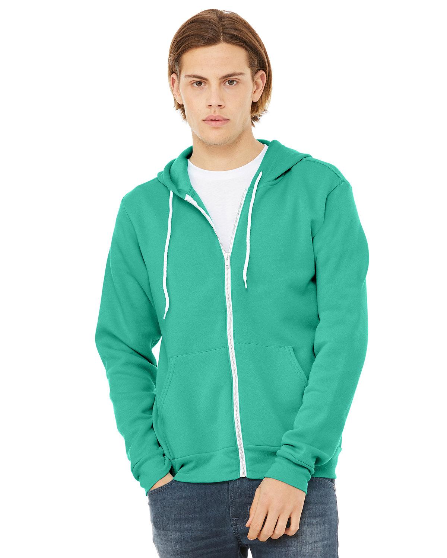 Bella + Canvas Unisex Poly-Cotton Fleece Full-Zip Hooded Sweatshirt TEAL