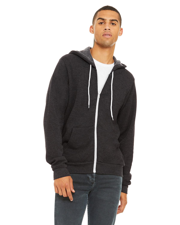 Bella + Canvas Unisex Poly-Cotton Fleece Full-Zip Hooded Sweatshirt DK GREY HEATHER