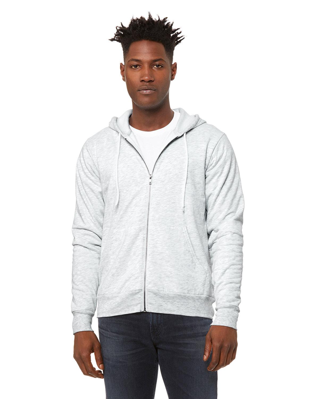 Bella + Canvas Unisex Poly-Cotton Fleece Full-Zip Hooded Sweatshirt ASH