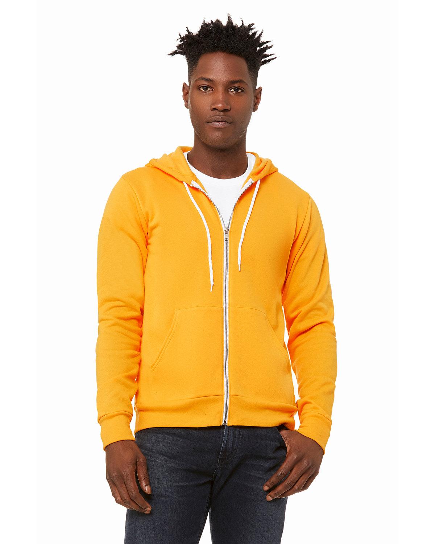 Bella + Canvas Unisex Poly-Cotton Fleece Full-Zip Hooded Sweatshirt GOLD