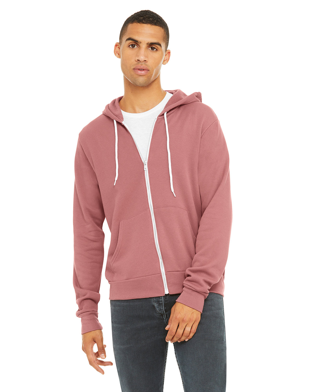 Bella + Canvas Unisex Poly-Cotton Fleece Full-Zip Hooded Sweatshirt MAUVE