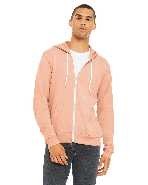 Bella + Canvas Unisex Poly-Cotton Fleece Full-Zip Hooded Sweatshirt PEACH