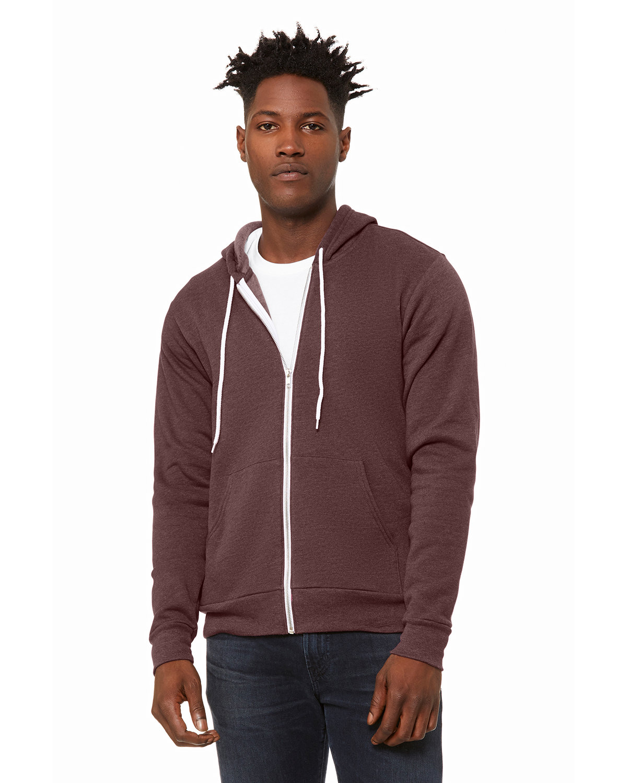 Bella + Canvas Unisex Poly-Cotton Fleece Full-Zip Hooded Sweatshirt HEATHER MAROON