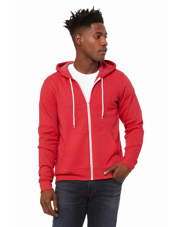Bella + Canvas Unisex Poly-Cotton Fleece Full-Zip Hooded Sweatshirt HEATHER RED
