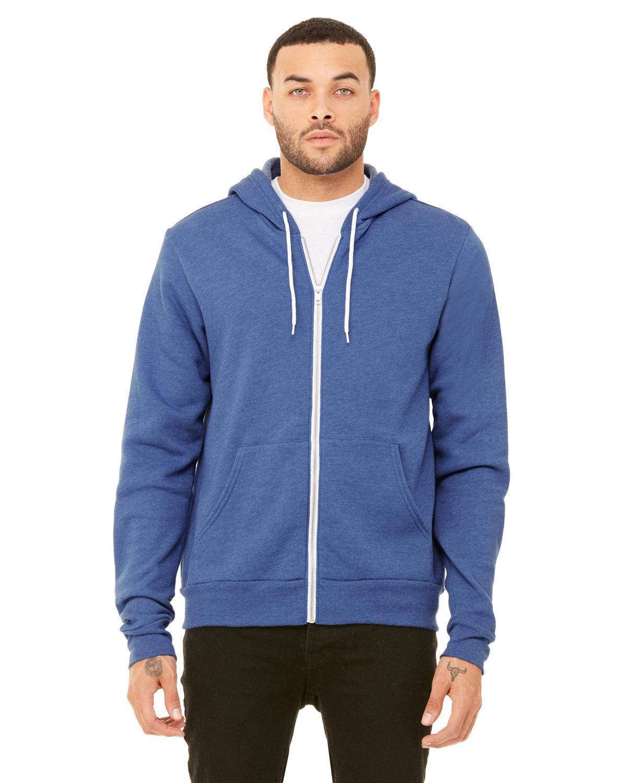 Bella + Canvas Unisex Poly-Cotton Fleece Full-Zip Hooded Sweatshirt HEATHER TRU ROYL