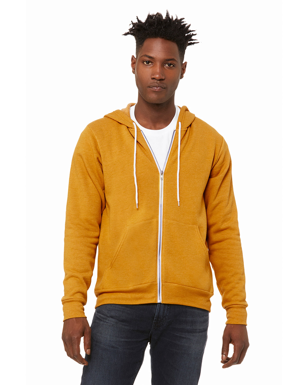 Bella + Canvas Unisex Poly-Cotton Fleece Full-Zip Hooded Sweatshirt HEATHER MUSTARD