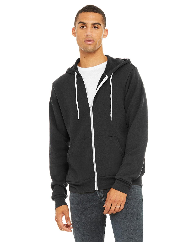 Bella + Canvas Unisex Poly-Cotton Fleece Full-Zip Hooded Sweatshirt DARK GREY