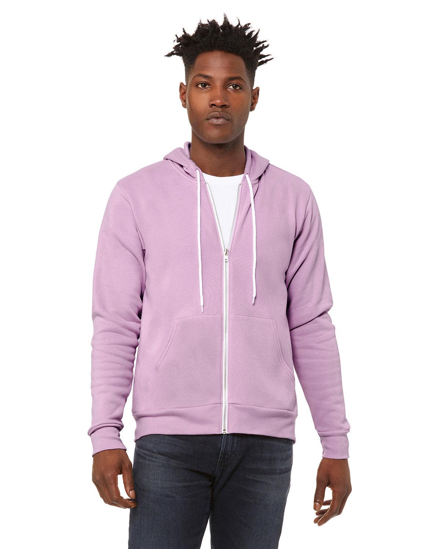 Bella + Canvas Unisex Poly-Cotton Fleece Full-Zip Hooded Sweatshirt LILAC
