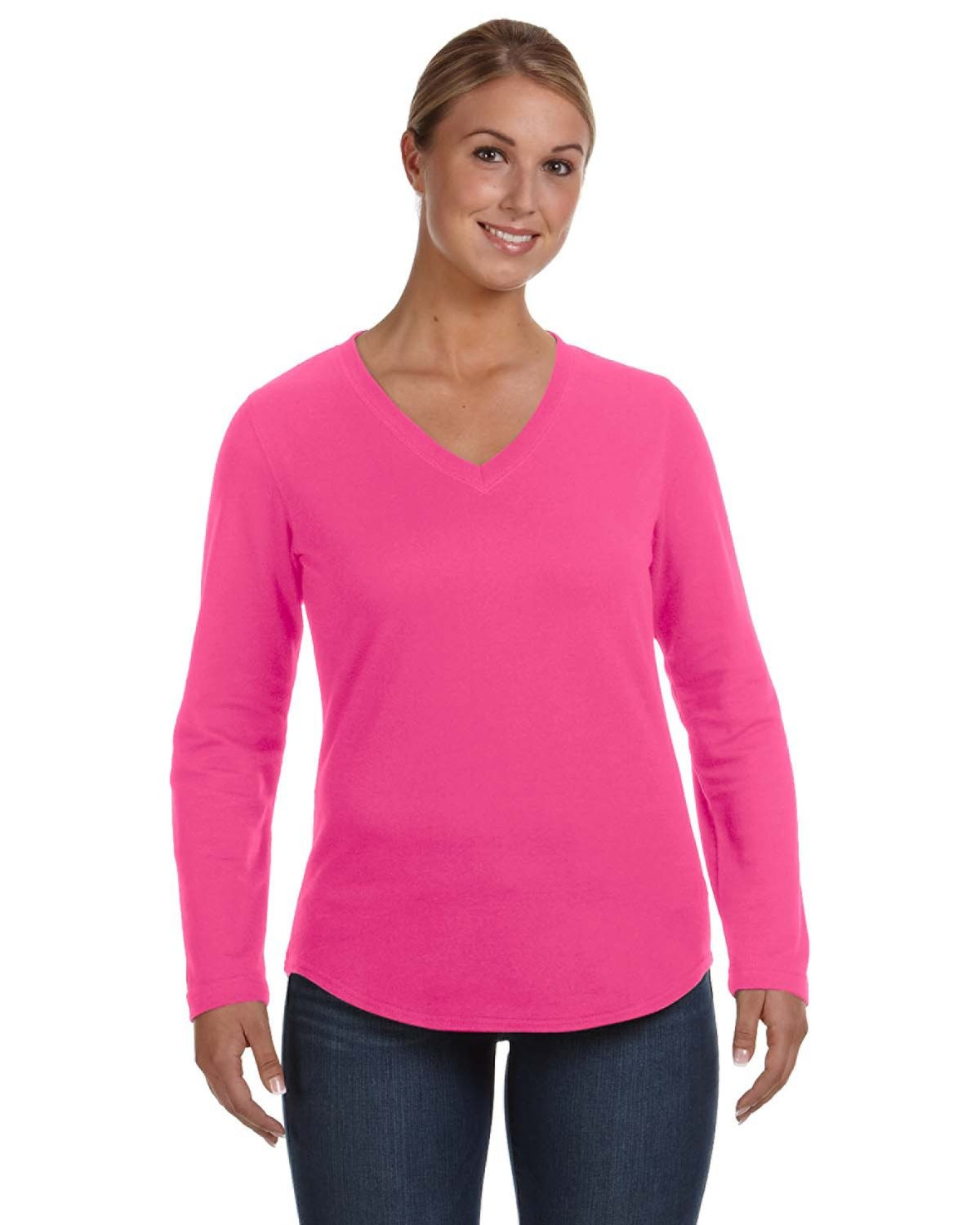 LAT Ladies' French Terry V-Neck T-Shirt HOT PINK