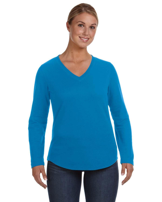 LAT Ladies' French Terry V-Neck T-Shirt COBALT