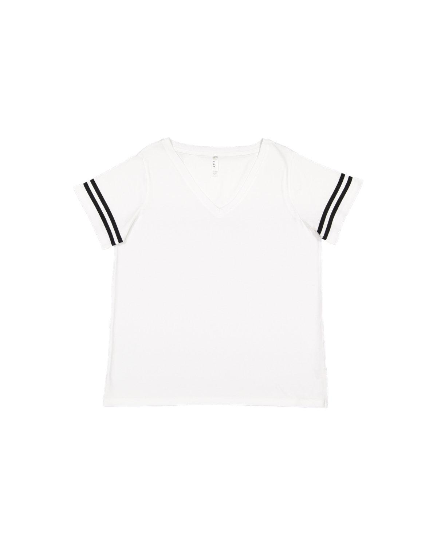 LAT Ladies' Curvy Football T-Shirt WHITE/ BLACK
