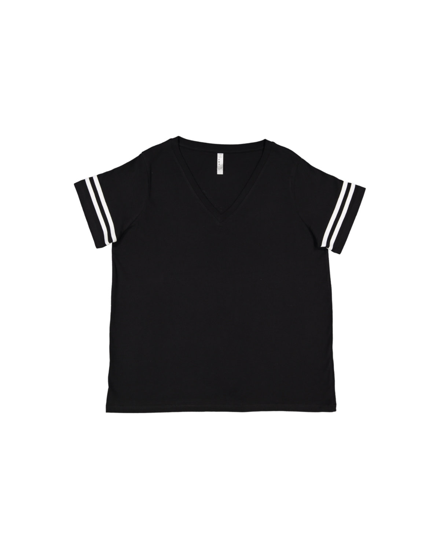 LAT Ladies' Curvy Football T-Shirt BLACK/ WHITE