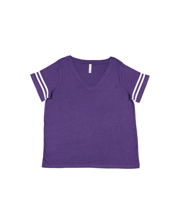 LAT Ladies' Curvy Football T-Shirt VN PRPL/ BL WHT