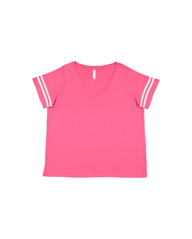 LAT Ladies' Curvy Football T-Shirt VN HT PK/ BL WHT