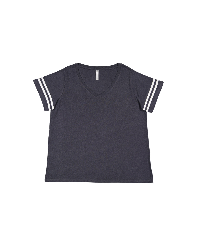 LAT Ladies' Curvy Football T-Shirt VN NAVY/ BL WHT
