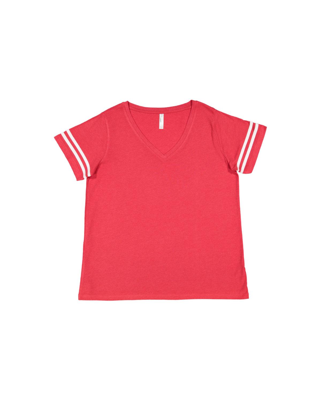 LAT Ladies' Curvy Football T-Shirt VN RED/ BL WHT