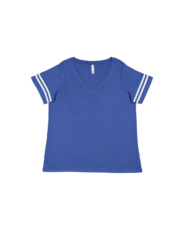 LAT Ladies' Curvy Football T-Shirt VN ROYAL/ BL WHT