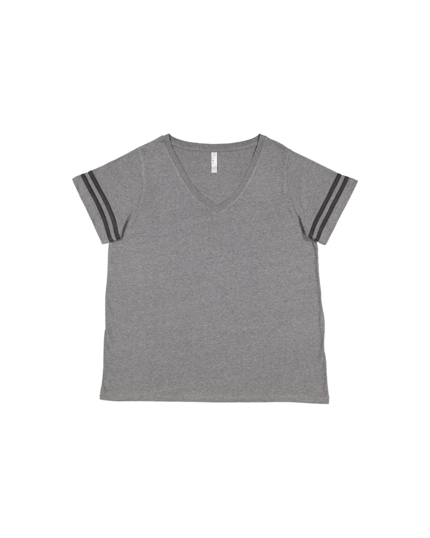 LAT Ladies' Curvy Football T-Shirt GRN HTH/ VN SMK