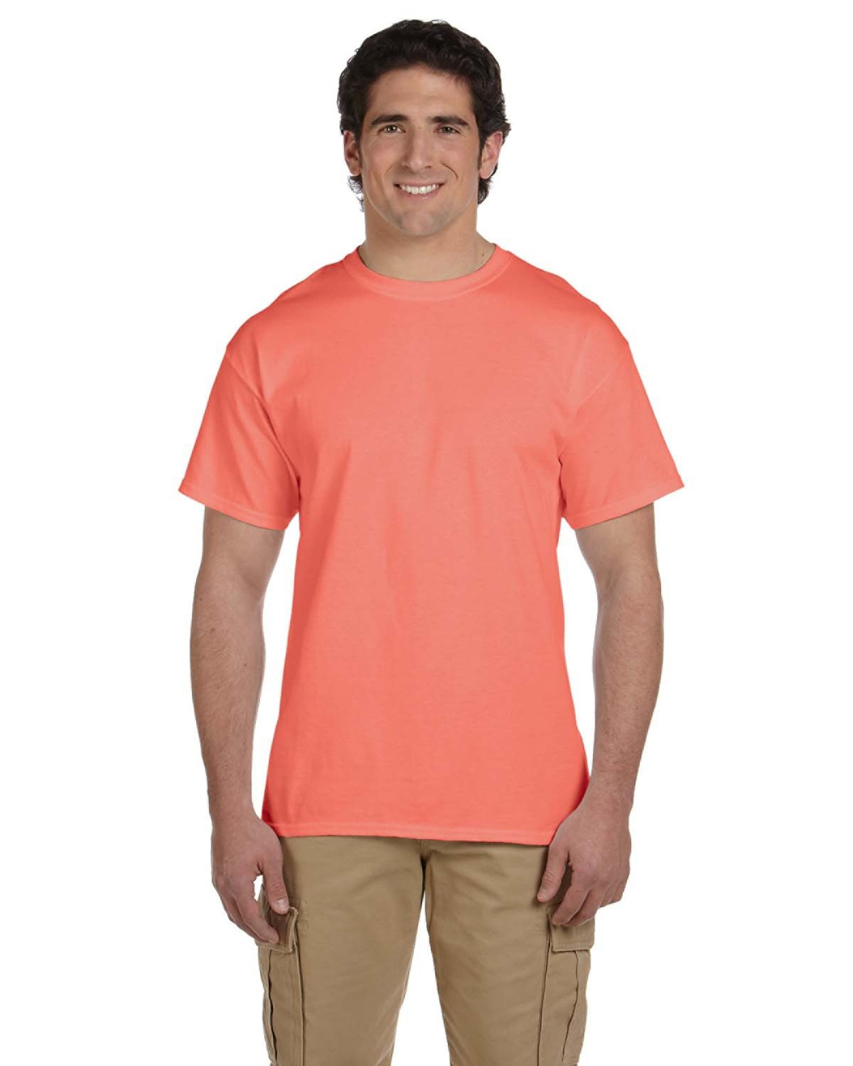 Fruit of the Loom Adult HD Cotton™ T-Shirt RETRO HTH CORAL