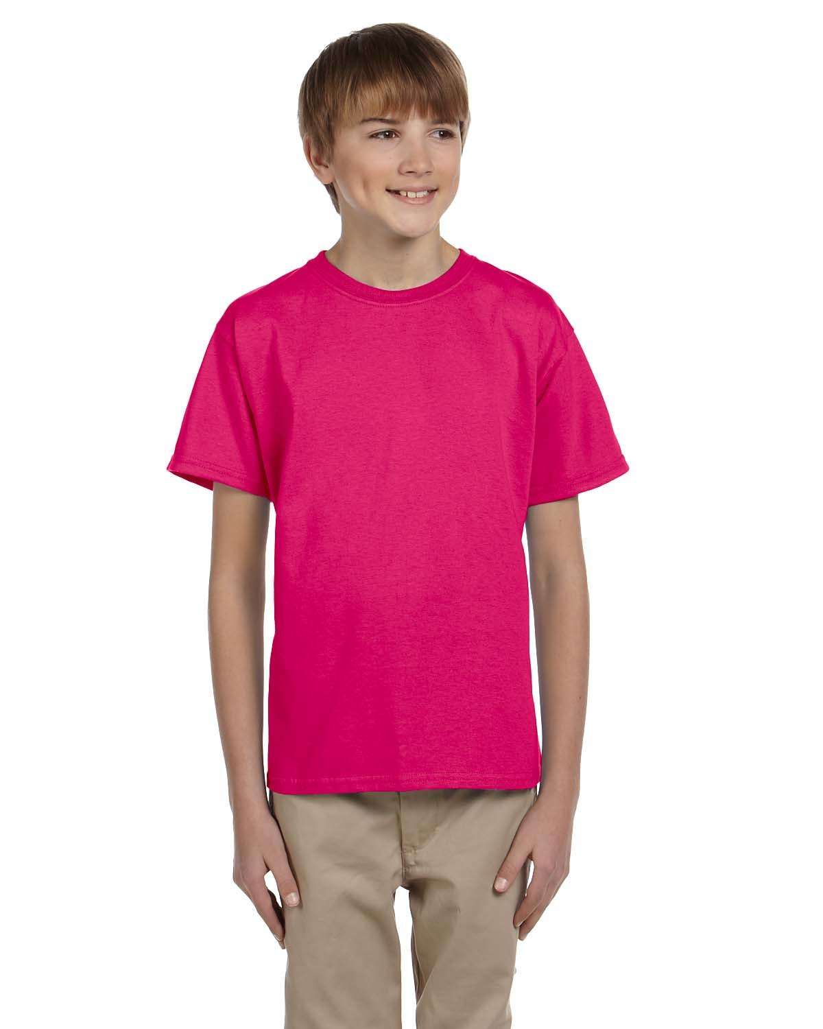 Fruit of the Loom Youth HD Cotton™ T-Shirt CYBER PINK