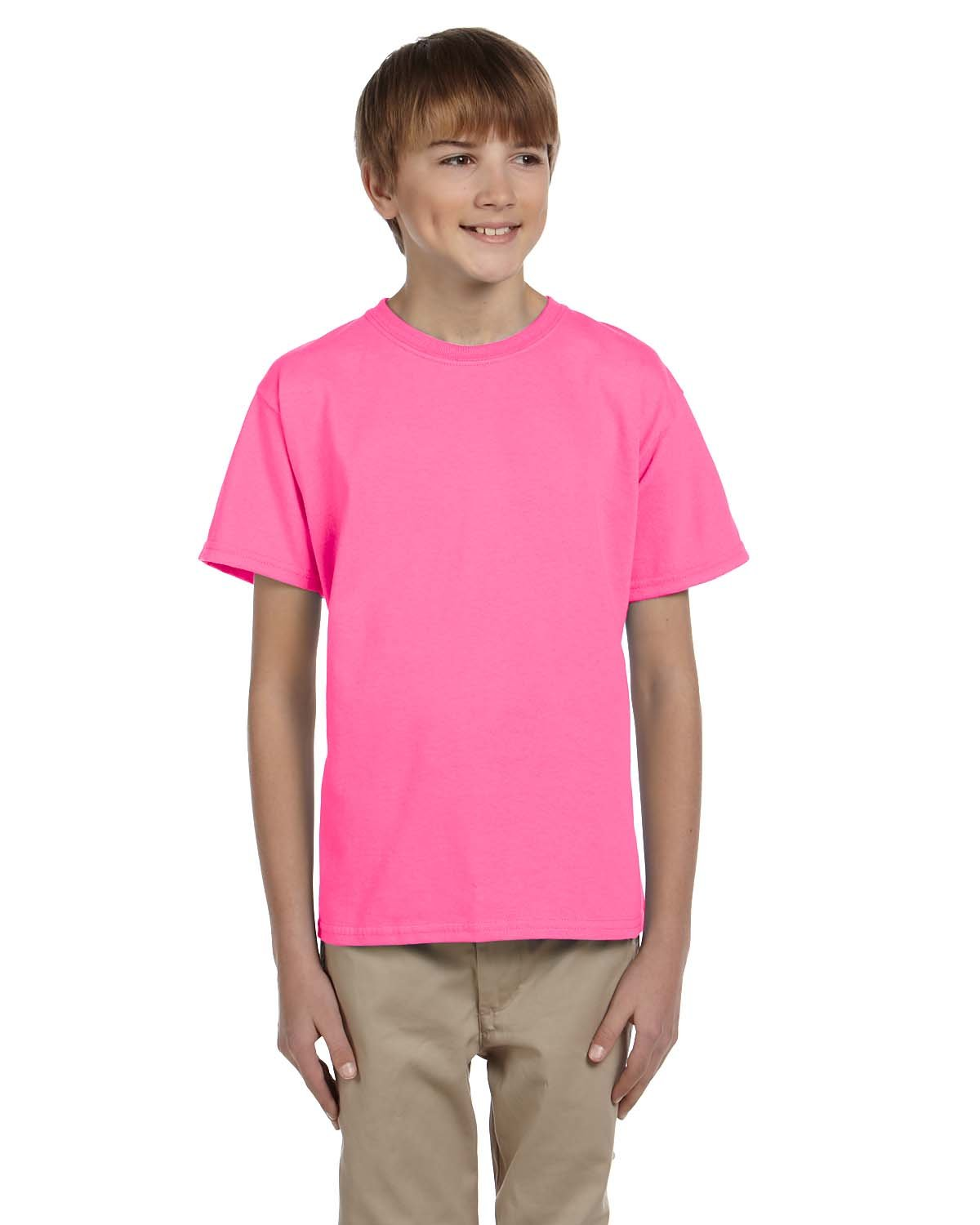 Fruit of the Loom Youth HD Cotton™ T-Shirt NEON PINK