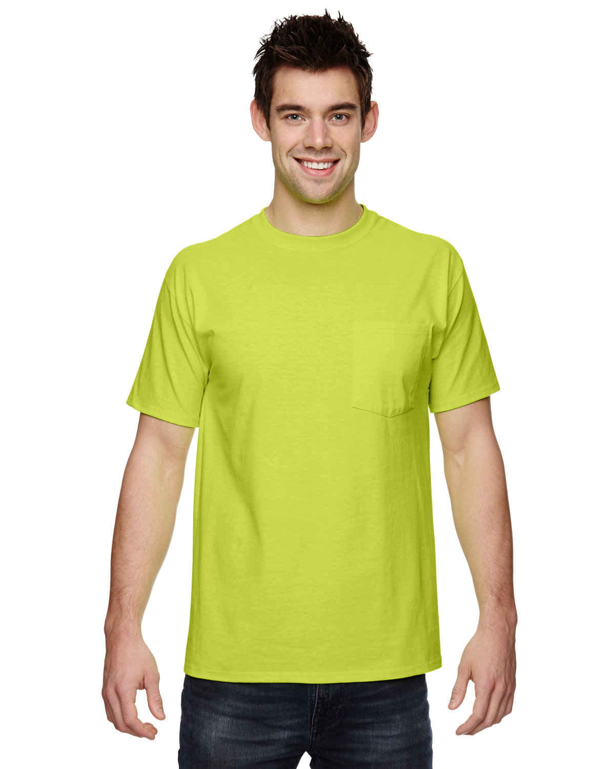 Fruit of the Loom Adult HD Cotton™ Pocket T-Shirt SAFETY GREEN