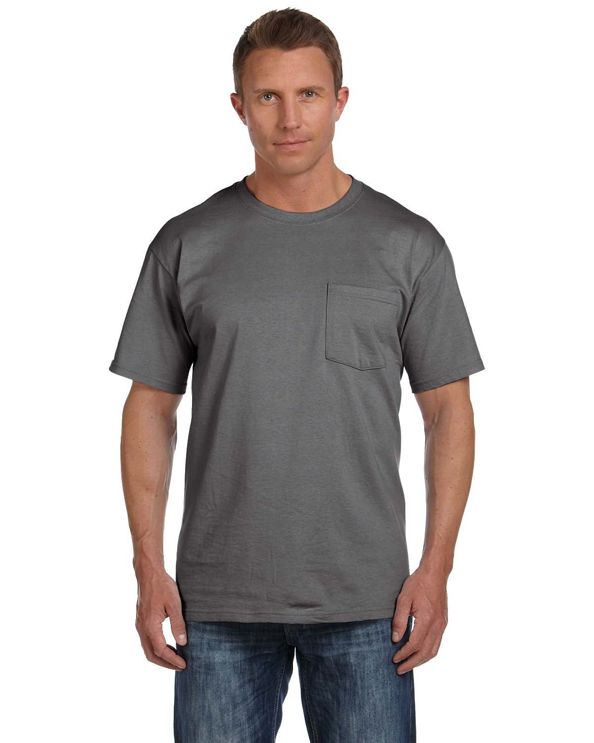 Fruit of the Loom Adult HD Cotton™ Pocket T-Shirt CHARCOAL GREY