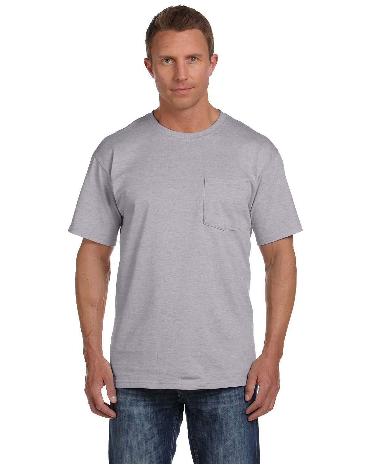 Fruit of the Loom Adult HD Cotton™ Pocket T-Shirt ATHLETIC HEATHER