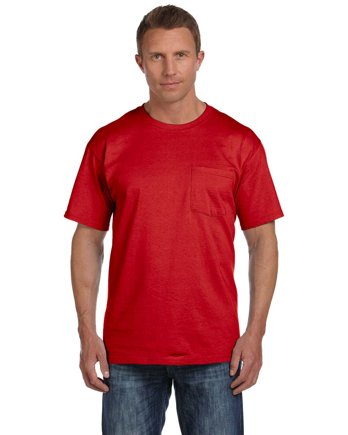 Fruit of the Loom Adult HD Cotton™ Pocket T-Shirt TRUE RED
