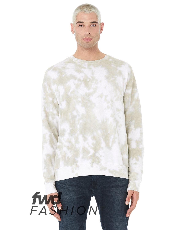 Bella + Canvas FWD Fashion Unisex Tie-Dye Pullover Sweatshirt WHT/ OLV OIL TD