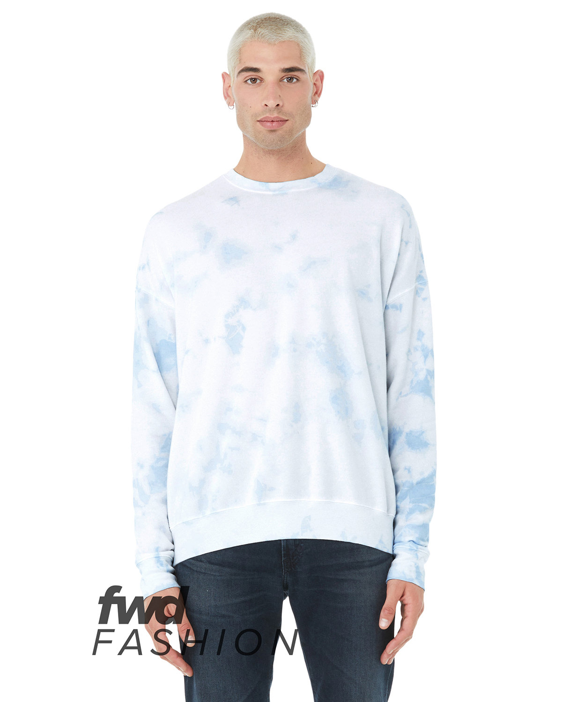 Bella + Canvas FWD Fashion Unisex Tie-Dye Pullover Sweatshirt WHT/ SKY BLU TD