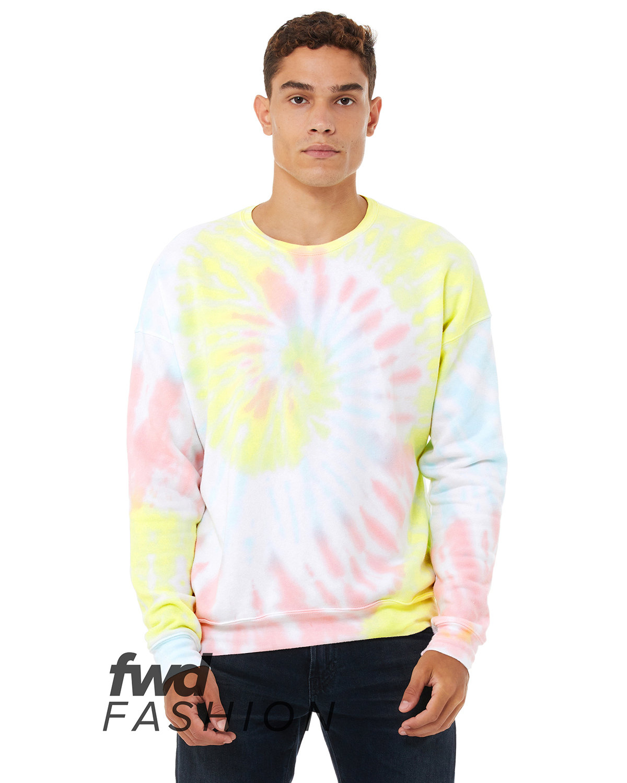 Bella + Canvas FWD Fashion Unisex Tie-Dye Pullover Sweatshirt RAINBW PASTL TD