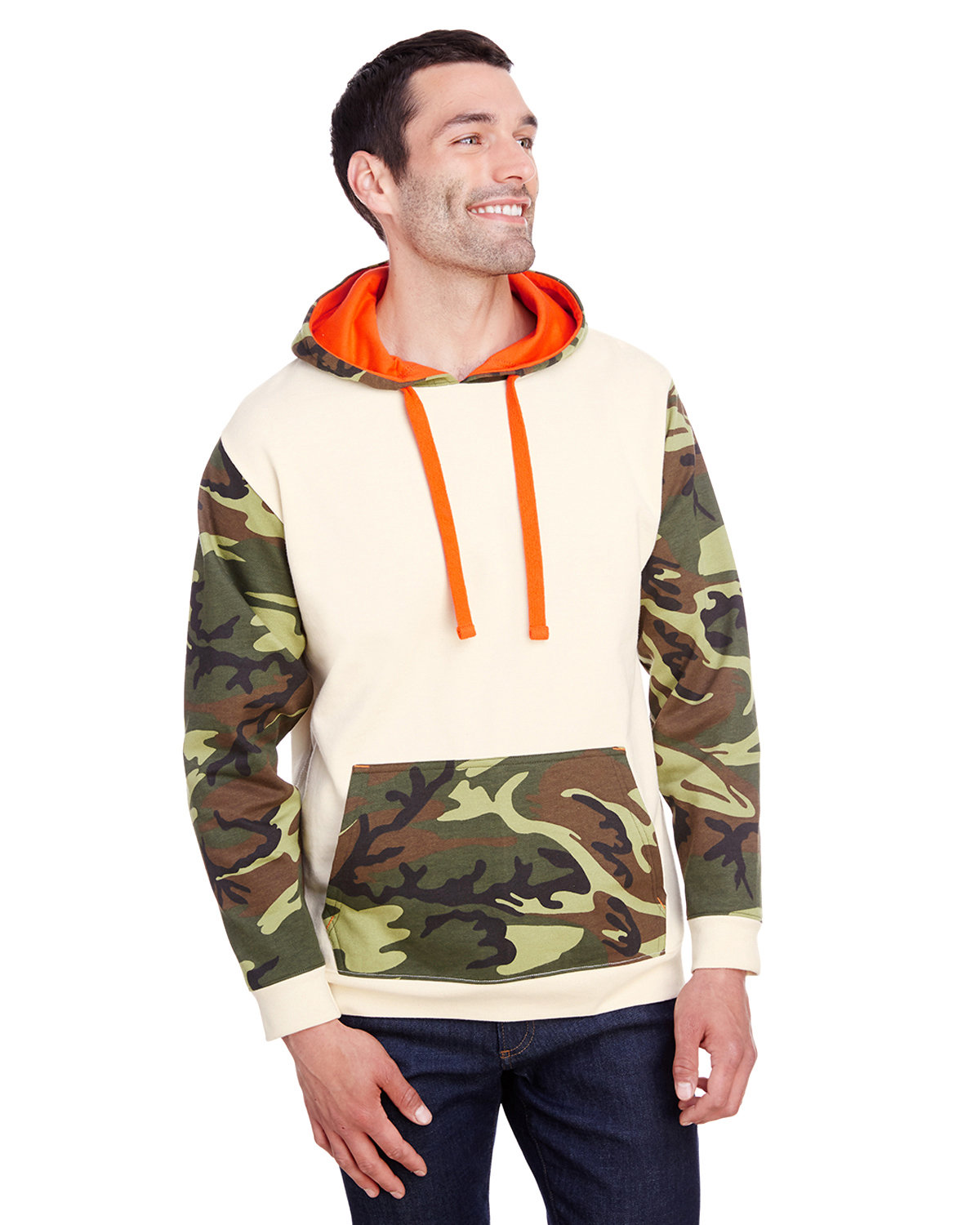 Code Five Men's Fashion Camo Hooded Sweatshirt NTRL/ GRN WD/ OR