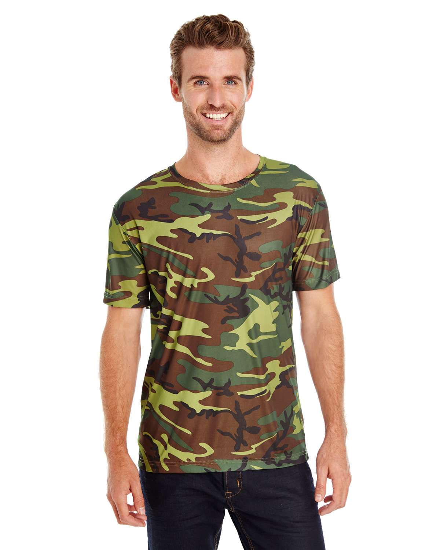 Code Five Men's Performance Camo T-Shirt GREEN WOODLAND
