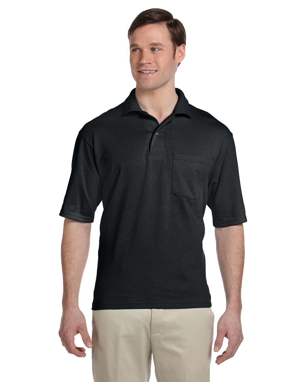 Jerzees Adult SpotShield™ Pocket Jersey Polo BLACK
