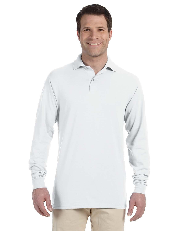 Jerzees Adult SpotShield™ Long-Sleeve Jersey Polo WHITE