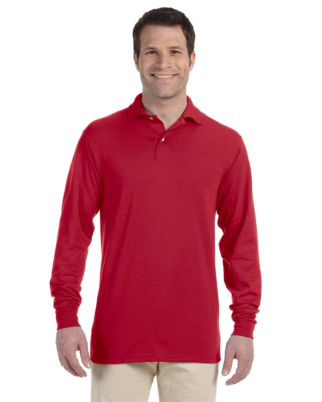 Jerzees Adult SpotShield™ Long-Sleeve Jersey Polo TRUE RED