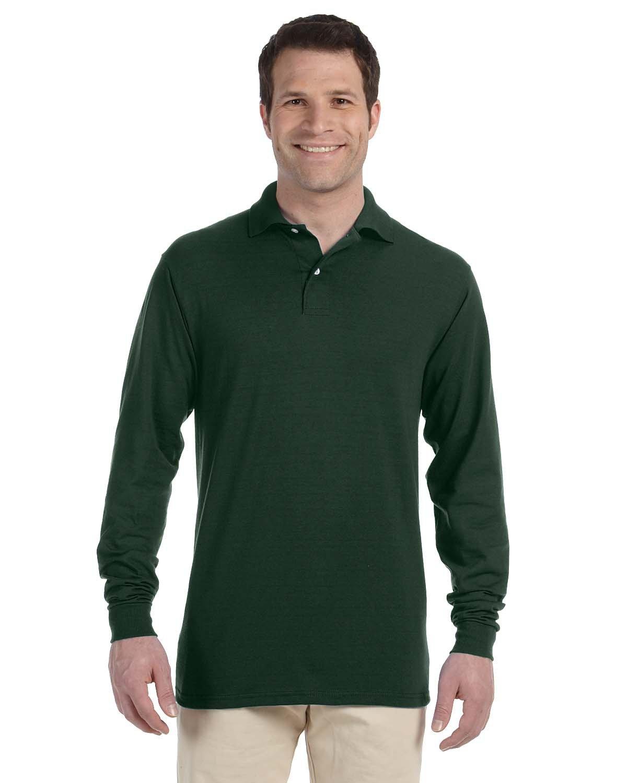 Jerzees Adult SpotShield™ Long-Sleeve Jersey Polo FOREST GREEN