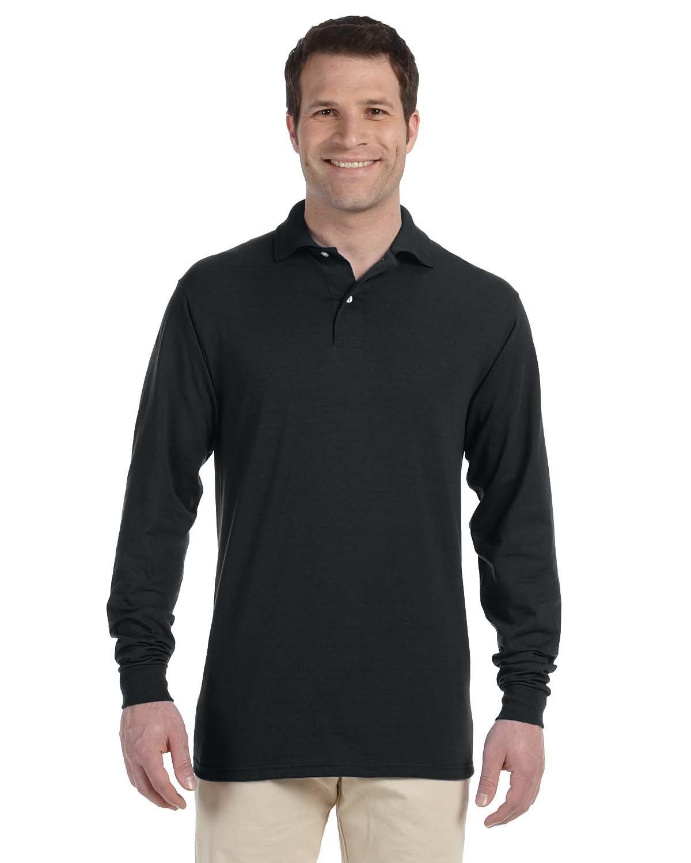 Jerzees Adult SpotShield™ Long-Sleeve Jersey Polo BLACK