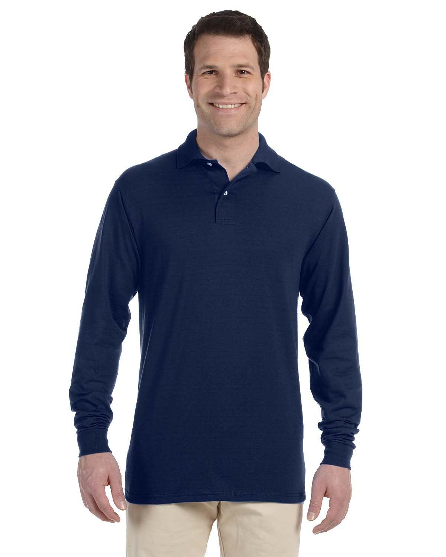 Jerzees Adult SpotShield™ Long-Sleeve Jersey Polo J NAVY