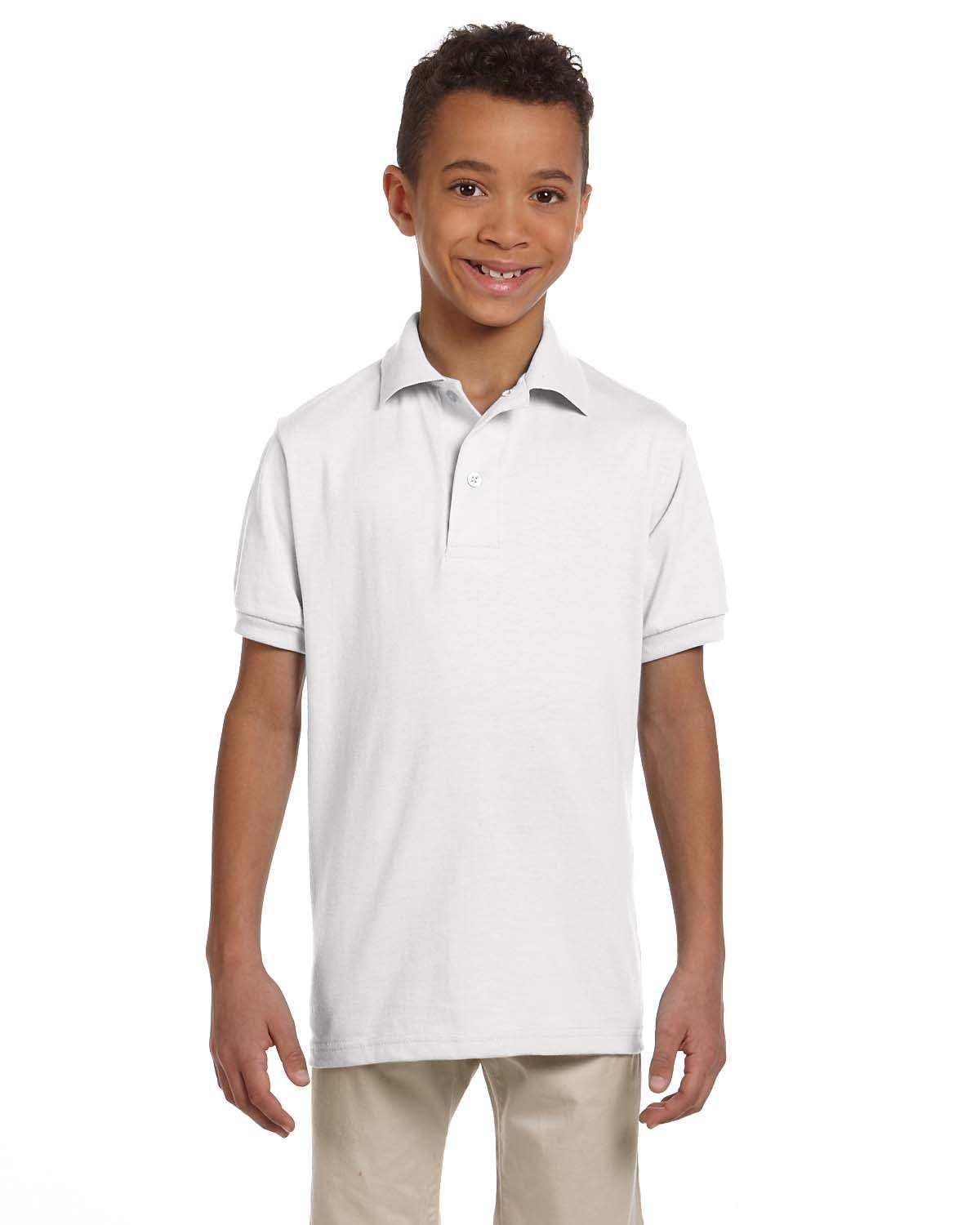 Jerzees Youth SpotShield™ Jersey Polo WHITE