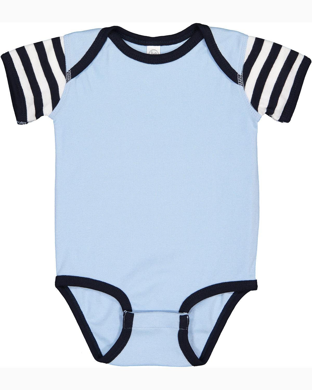 Rabbit Skins Infant Baby Rib Bodysuit LT BLU/ NV/ W ST