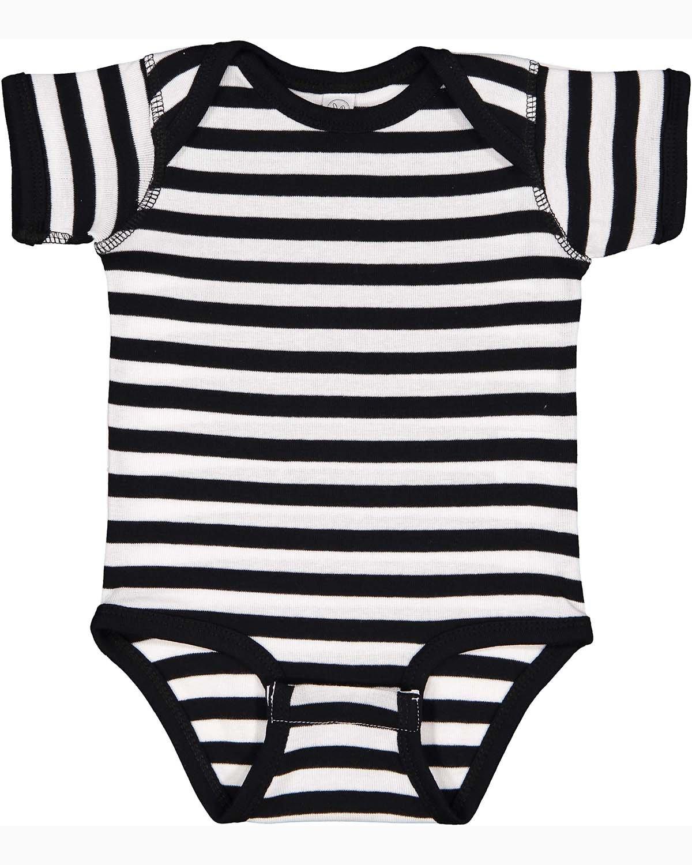 Rabbit Skins Infant Baby Rib Bodysuit BLACK/ WHITE STR