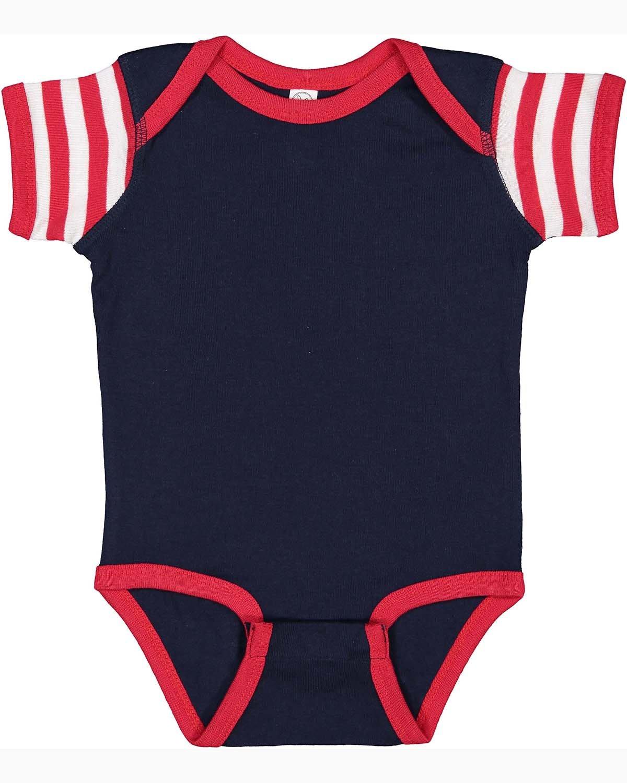 Rabbit Skins Infant Baby Rib Bodysuit NV/ RD/ RD WH ST