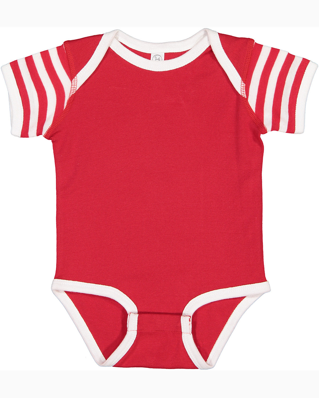 Rabbit Skins Infant Baby Rib Bodysuit RD/ WH/ RD WH ST