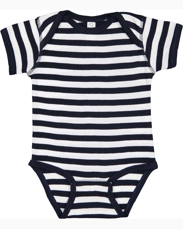 Rabbit Skins Infant Baby Rib Bodysuit NAVY/ WHT STRPE