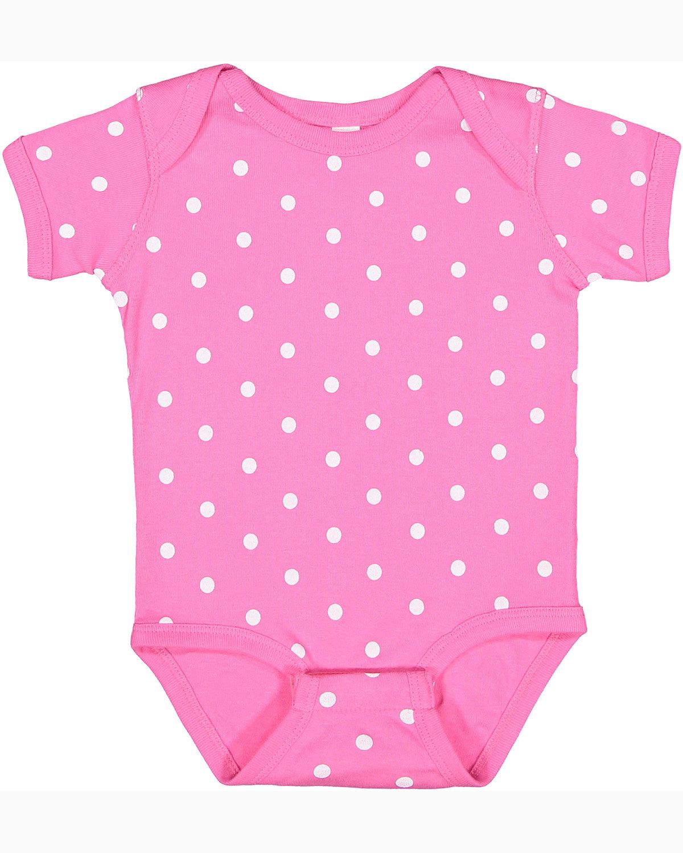 Rabbit Skins Infant Baby Rib Bodysuit RSPBRRY/ WHT DOT