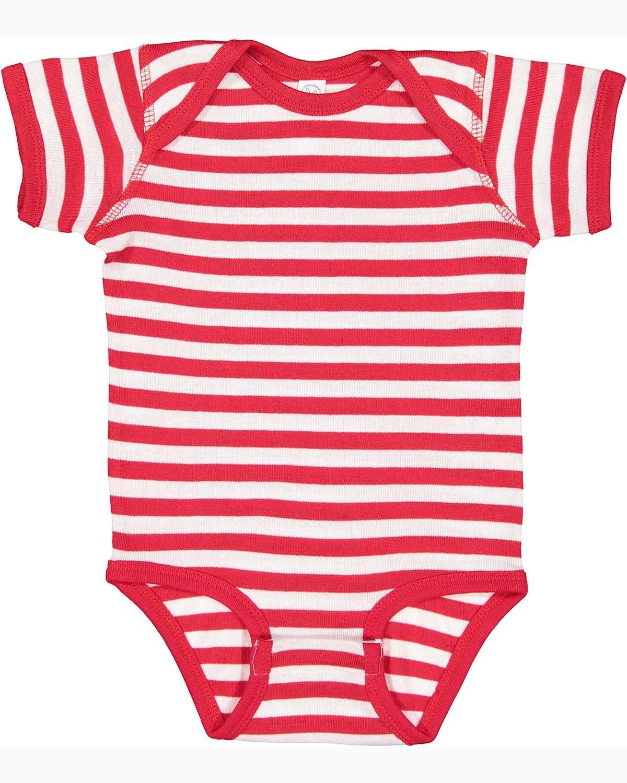 Rabbit Skins Infant Baby Rib Bodysuit RED/ WHT STRIPE